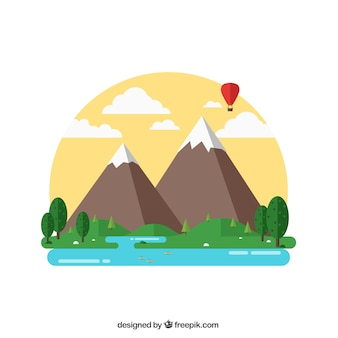Natural landscape in flat design