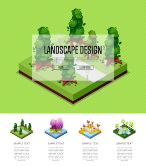 Natural landscape isometric infographics