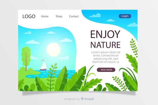 Natural landscape landing page template