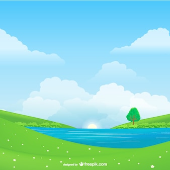 Natural landscape vector