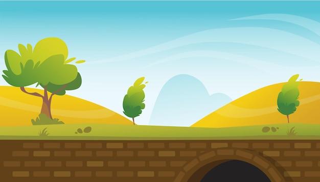Природный ландшафт с кирпичным туннелем и фоновой иллюстрацией голубого неба