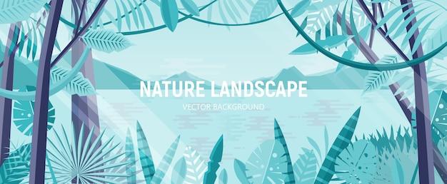 Природный ландшафт с зеленой листвой экзотических деревьев и растений, растущих в тропическом лесу или джунглях