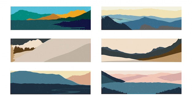 日本の波模様のある自然風景。山の森のテンプレートと抽象芸術の背景。