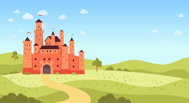 中世の城とコピースペースフラット漫画スタイルの自然の風景