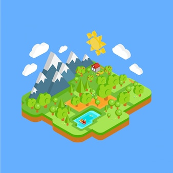 Natural landscape with mountains river and forest. flat isometric 3d concept.