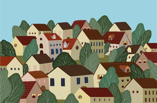 村の風景イラストと自然の風景