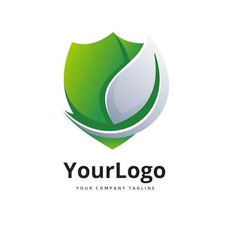 Логотип из натурального листа и щита премиум векторы