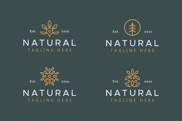 Значок с абстрактным логотипом из натуральных листьев и дерева