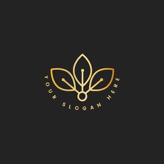 Natural leaf branding logo illustration