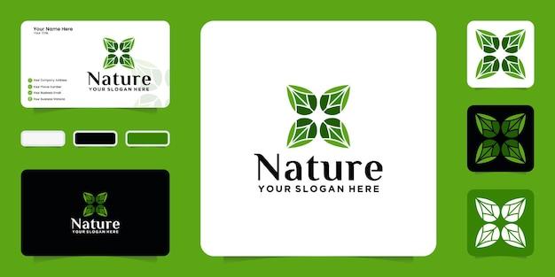 뷰티, 스파, 살롱 템플릿 및 명함 디자인을 위한 자연 잎 디자인 영감