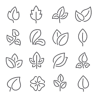 Natural leaf line icons. leaves of plants eco green fertilizer outline pictograms