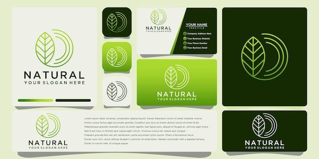 Natural leaf outline logo with business card template vector design