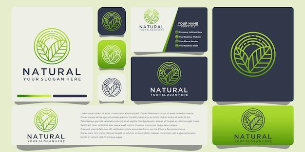 名刺テンプレートと自然の葉のアウトラインロゴ