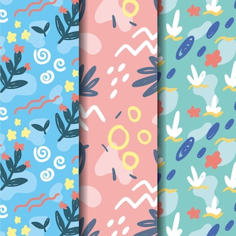 Natural leaves hand drawn pattern collection