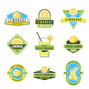 Natural lemon juice flat labels set