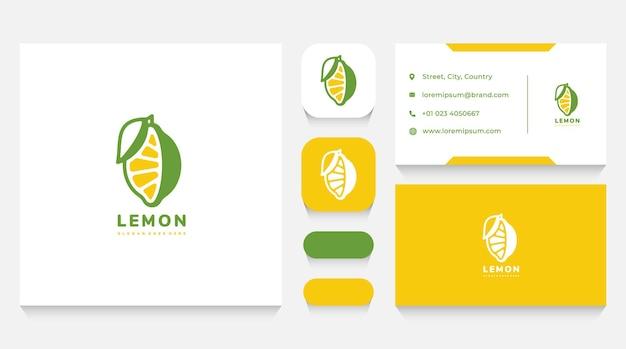 Шаблон логотипа натуральный лимон и визитная карточка