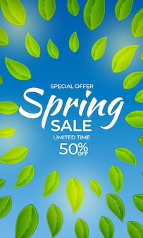 Natural light spring sale poster banner background with green sunny leaves.