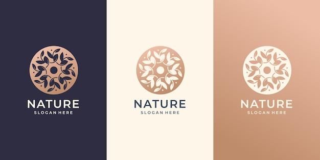 Природный логотип абстрактный оставляет круг округлые концепции дизайн набора.