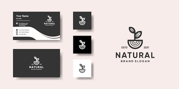 Natural logo template with unique concept and business card design premium vector