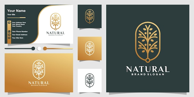 Natural logo with creative unique tree concept and business card design template