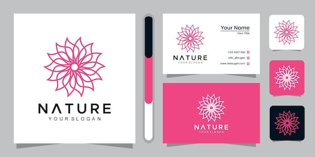 Естественный логотип в стиле арт-линии и шаблон дизайна визитной карточки