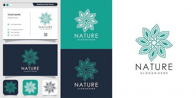 Natural logo with line art style and business card design template, fresh, line art, flower, leaf, abstract,