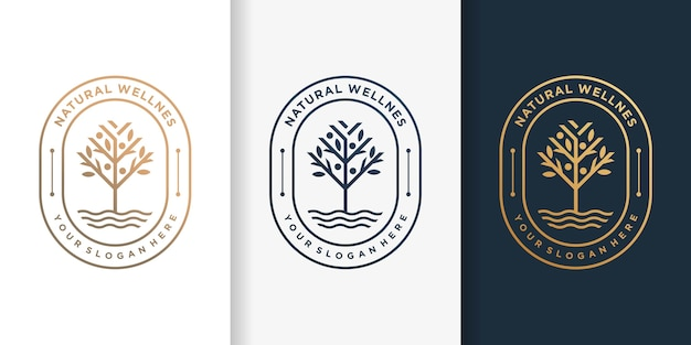 Natural logo with luxury golden tree style and business card design template