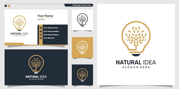 Natural logo with unique leaf idea modern style and business card design template