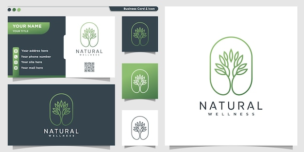 Natural logo with unique tree line art style and business card design