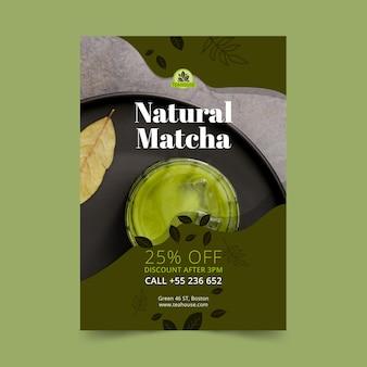 Modello di poster di tè matcha naturale