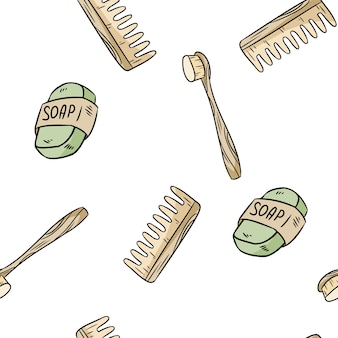 天然素材の歯ブラシ、石鹸、くしのシームレスパターン。