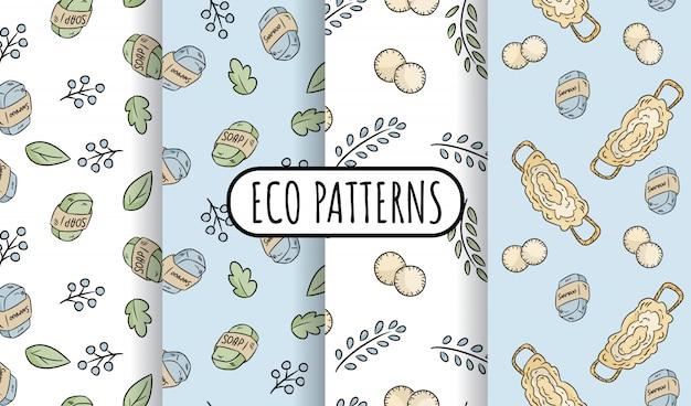 自然素材の環境に優しいシームレスパターンのセット。エコロジカルで無駄のないタイル。温室とプラスチックのない生活