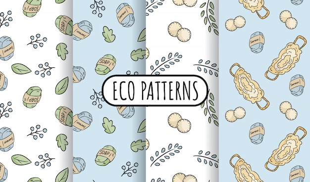 Natural materials eco friendly set of seamless patterns. ecological and zero-waste tiles. green house and plastic-free living