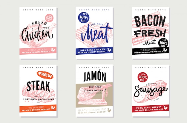 Natural meat promotional posters