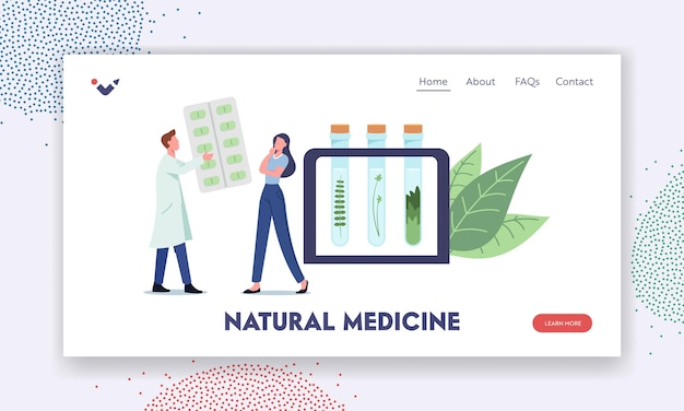 Natural medicine landing page template. specialist giving herbal remedy to patient. male doctor character prepare ayurvedic drugs of plants and herbal ingredients. cartoon people vector illustration