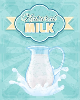 Natural milk pitcher illustration