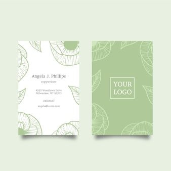 Natural motifs of leaves and flowers business card