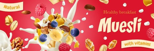 현실적인 건강한 아침 식사를 홍보하는 빨간색 가로 포스터에 비타민이 함유 된 천연 뮤 즐리
