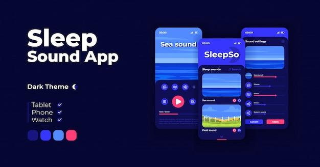 自然な音楽アプリ漫画スマートフォンインターフェイステンプレートセット。モバイルアプリの画面ページのナイトモードのデザイン。アプリケーションのオーディオプレーヤーオプションui。フラットなイラスト付きの電話ディスプレイ