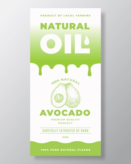 Natural oil abstract vector packaging design or label template. modern typography, gradient drips and hand drawn avocado and a half sketch silhouette background layout. isolated.