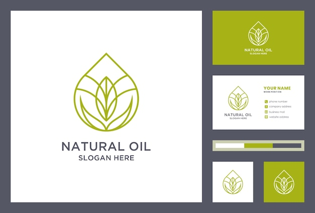 Natural oil logo design with business card template. oil drop logo inspiration. creative water leaf icon.