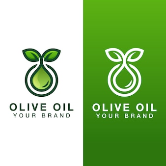 Natural olive oil drop logo with two versions