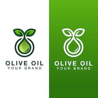 2つのバージョンの天然オリーブオイルドロップのロゴ