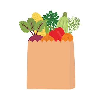 신선한 야채가 가득한 종이 봉지에 자연. 다이어트의 개념. 그림 흰색 배경에 고립입니다.