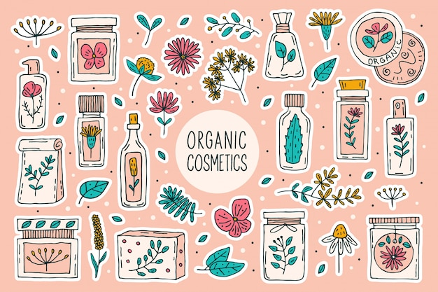 Natural organic cosmetics with plants  doodle  clipart, big set of elements. isolated on pink background. organic, eco friendly ingredients, natural cure. vegan cosmetics. sticker, icon.