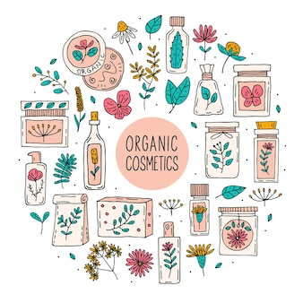 Natural organic cosmetics with plants doodle set