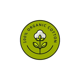 Natural organic cotton liner flat labels and badges - vector round icon, sticker, logo, stamped, tag cotton flower isolated on white background - natural cloth green logo plants stamp organic textiles