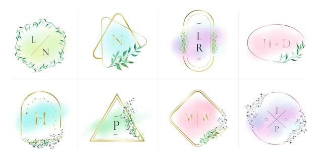 Natural and organic logo collection for branding, corporate identity. gold frame with floral in watercolor style