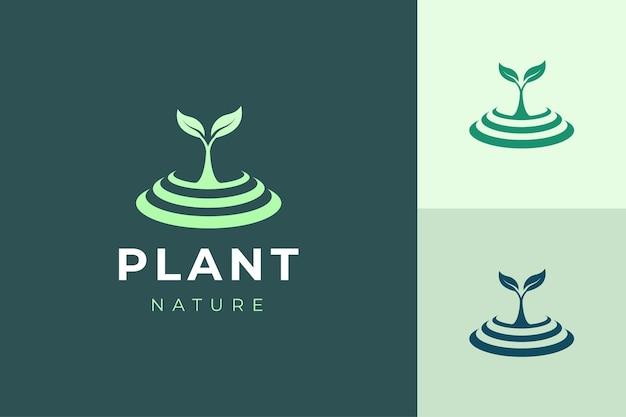 Шаблон логотипа natural organic с простой и чистой формой растения