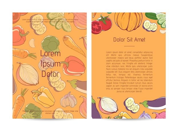 Natural organic nutrition flyer with vegetables